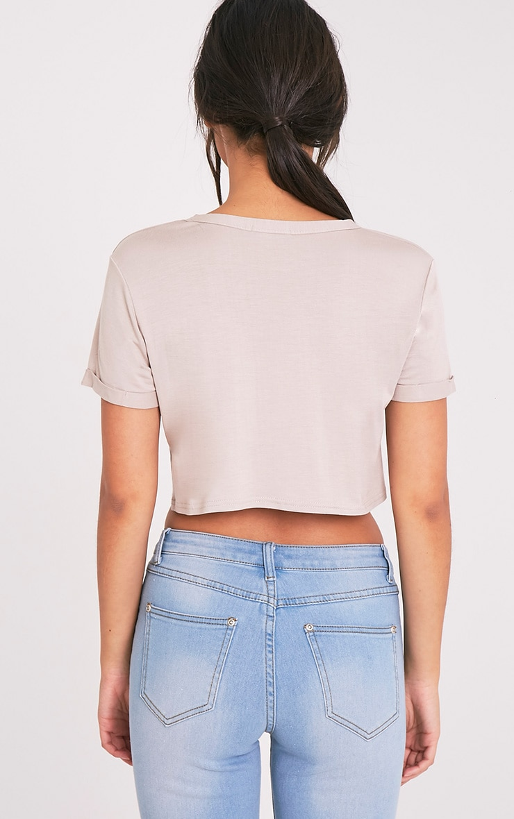 Basic Stone Roll Sleeve Crop T Shirt 2