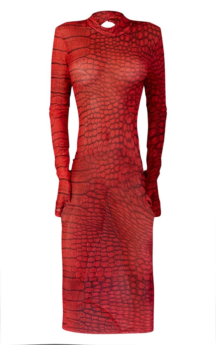 Robe longue en mesh rouge imprimé croco 6