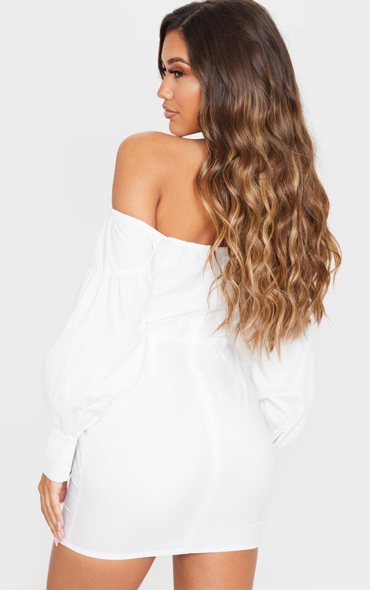 White Woven Bardot Corset Detail Bodycon Dress 2