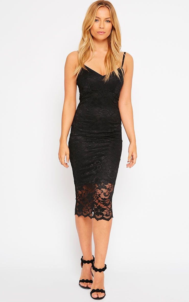 Adley Black Lace Midi Dress 3