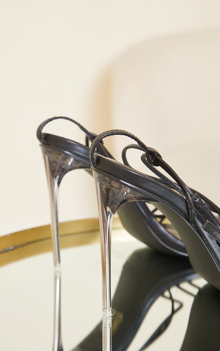 Black PU Barely There Strappy Asymmetric High Heels 4