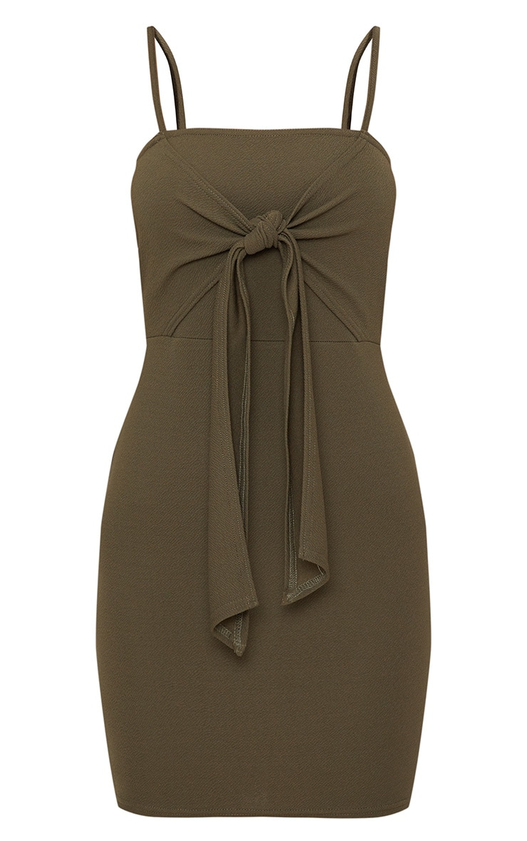 Khaki Strappy Tie Detail Bodycon Dress 3