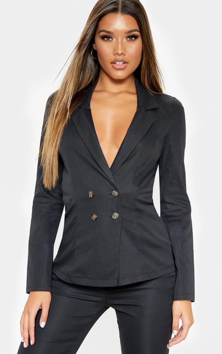 Black Button Detail Woven Blazer 1