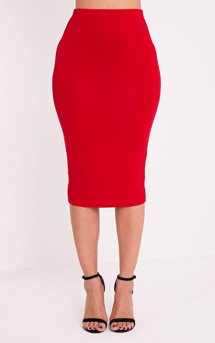 Basic Red Jersey Midi Skirt 2