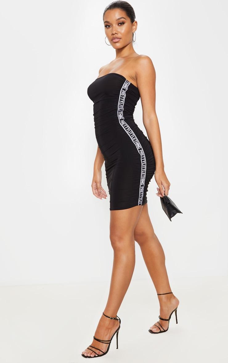 PRETTYLITTLETHING Black Ruched Bandeau Bodycon Dress 1