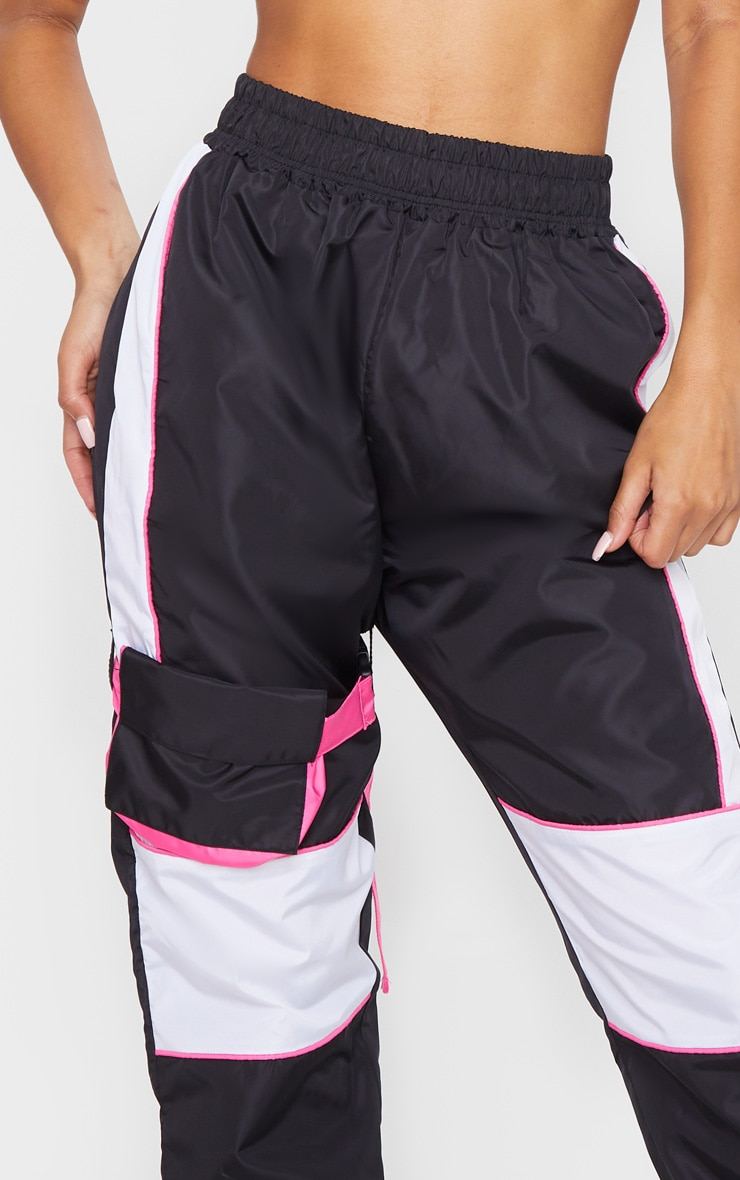 Black Neon Binding Shell Pocket Detail Joggers 4