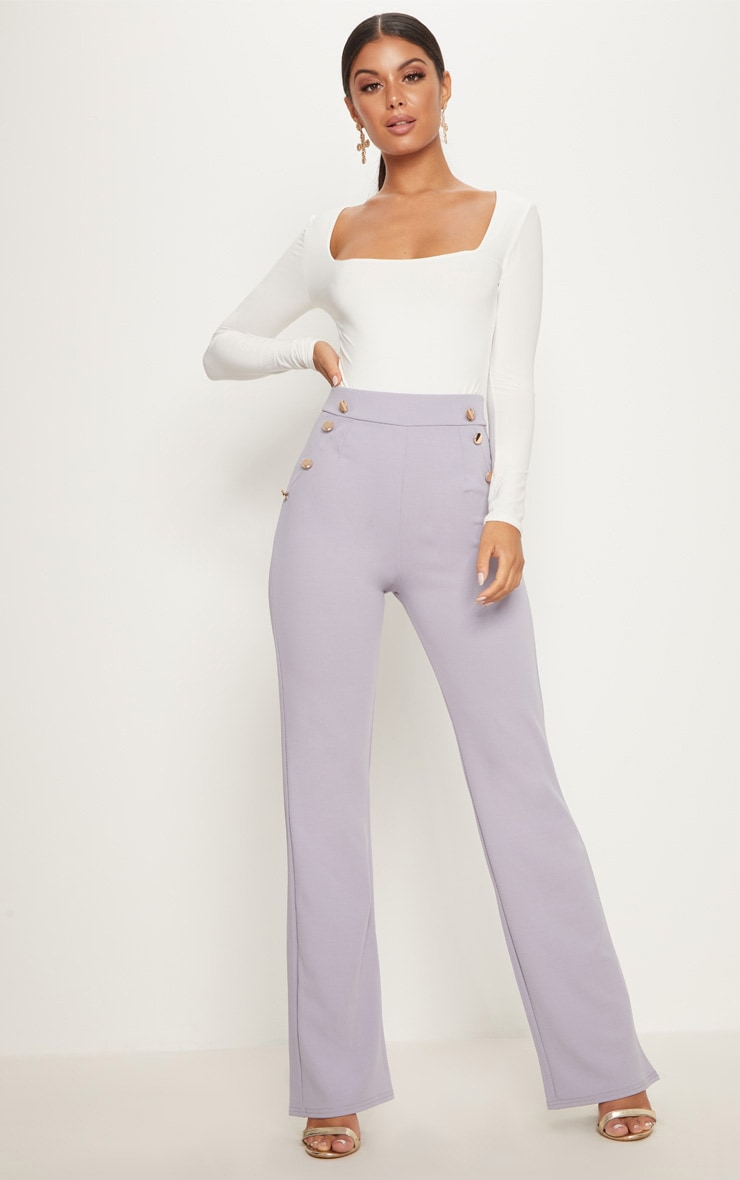 Lilac Grey Military High Waist Button Wide Leg Trousers   1