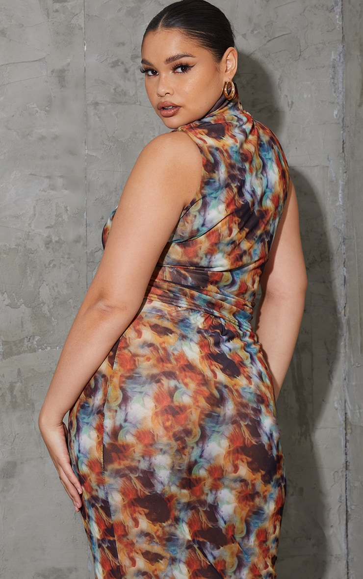Plus Multi Tie Dye Mesh Double Layered High Neck Sleeveless Top 2
