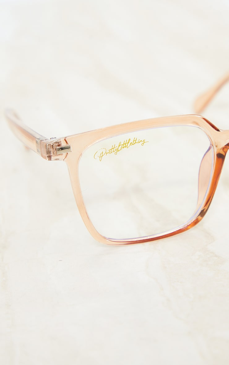 PRETTYLITTLETHING Peach Square Frame Blue Light Readers image 3