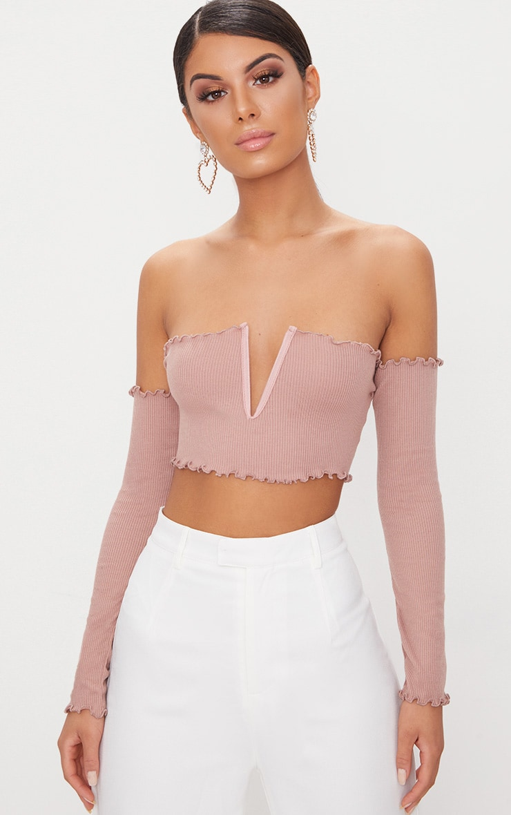 Rose Frill Edge V Bar Long Sleeve Crop Top  1