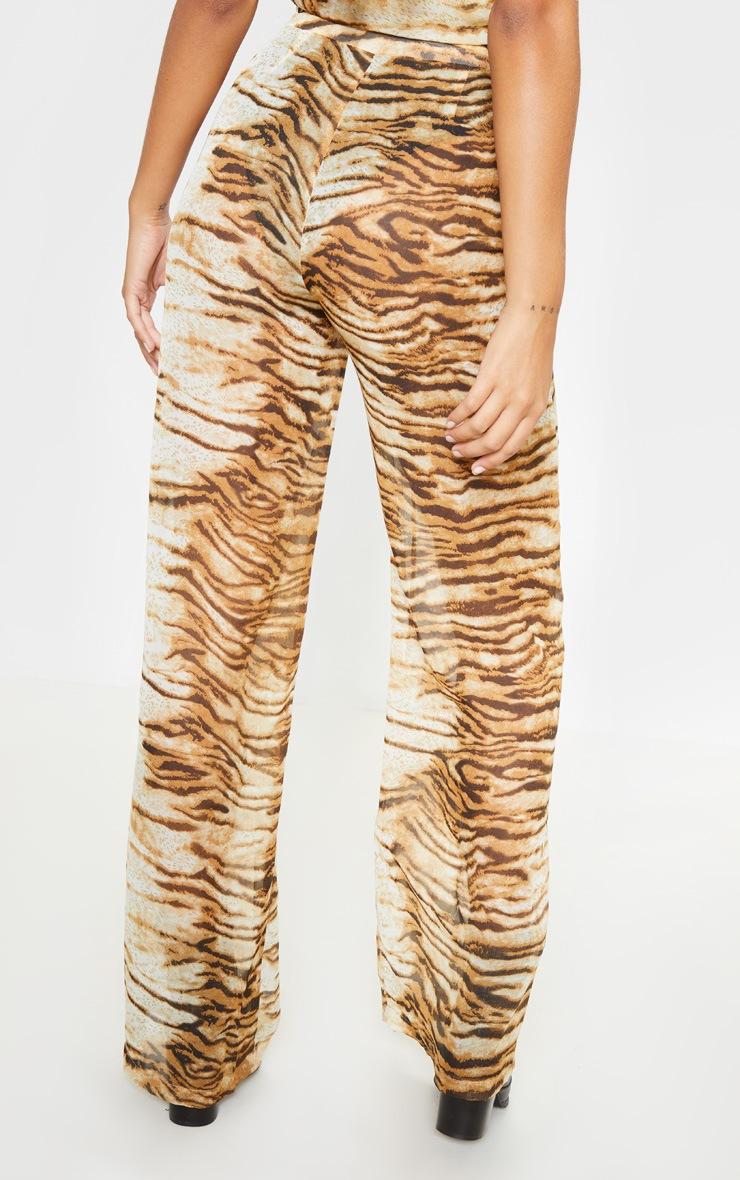 Tan Chiffon Tiger Print High Waisted Wide Leg Trouser 4