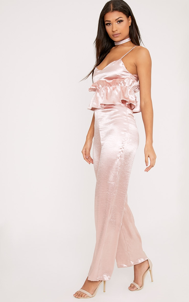 Abi Pink Hammered Satin Frill Middle Jumpsuit 2