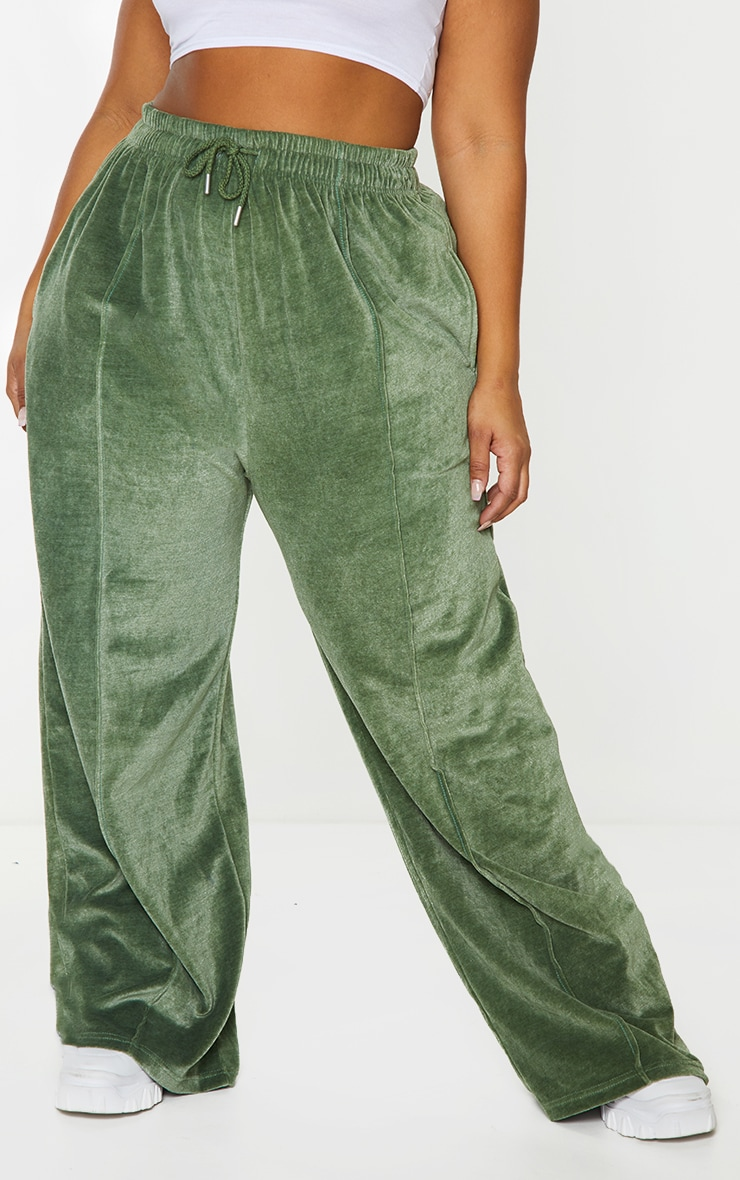 Plus Olive Towelling Wide Leg Joggers 2