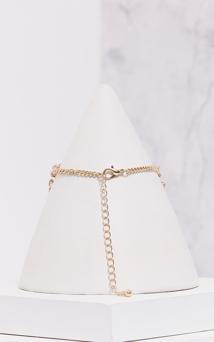 Ena Gold Diamante Detail Cross Choker 4