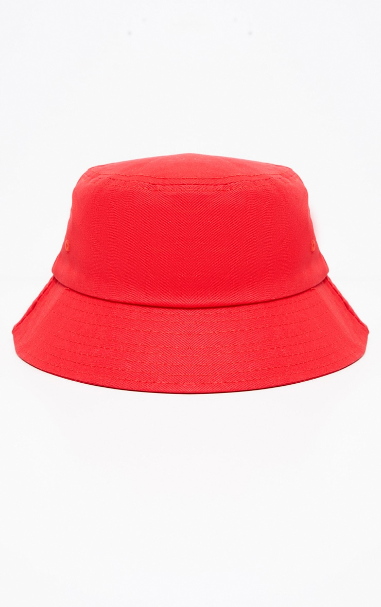 Red Plain Bucket Hat 2
