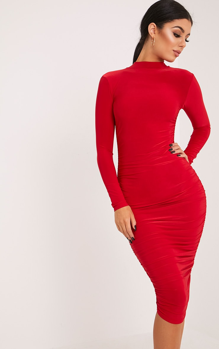 Niyah Red Slinky Ruched Midi Dress 2