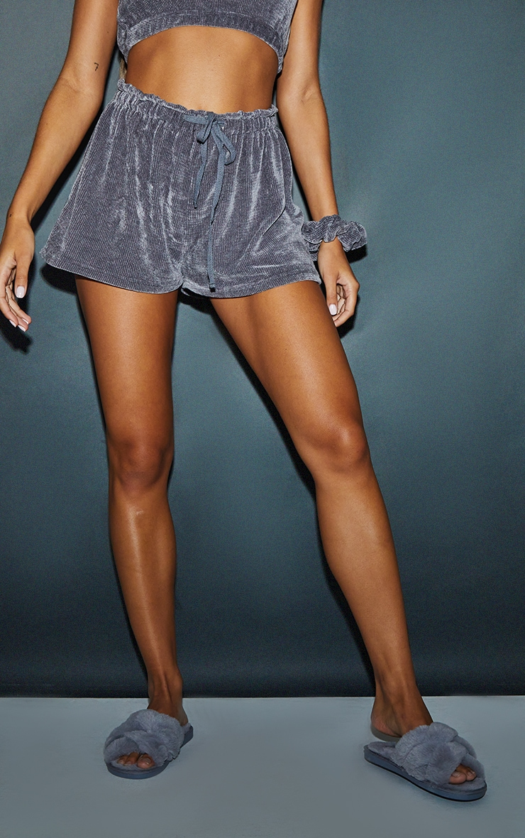 Charcoal Mix And Match Luxe Rib Velour PJ Shorts 2
