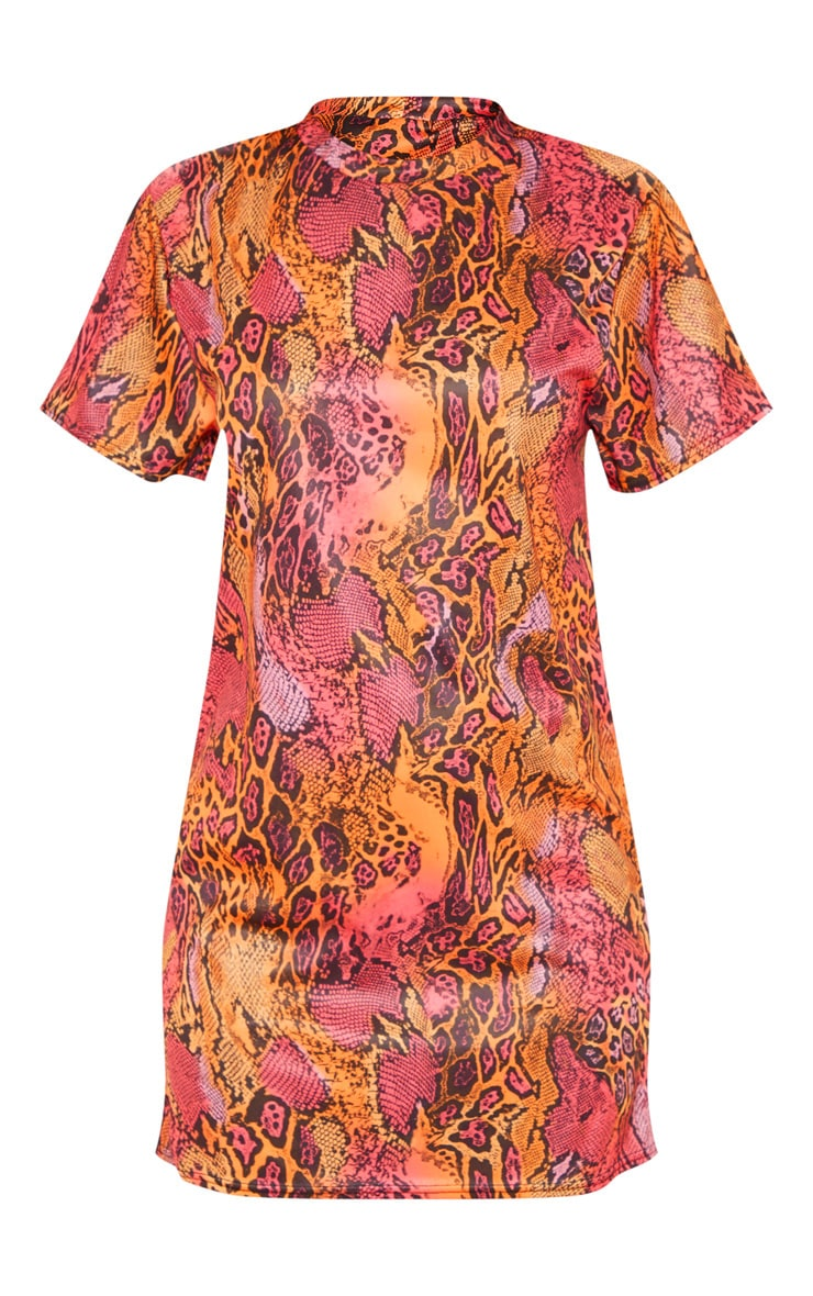 Orange Leopard Print T Shirt Dress 3