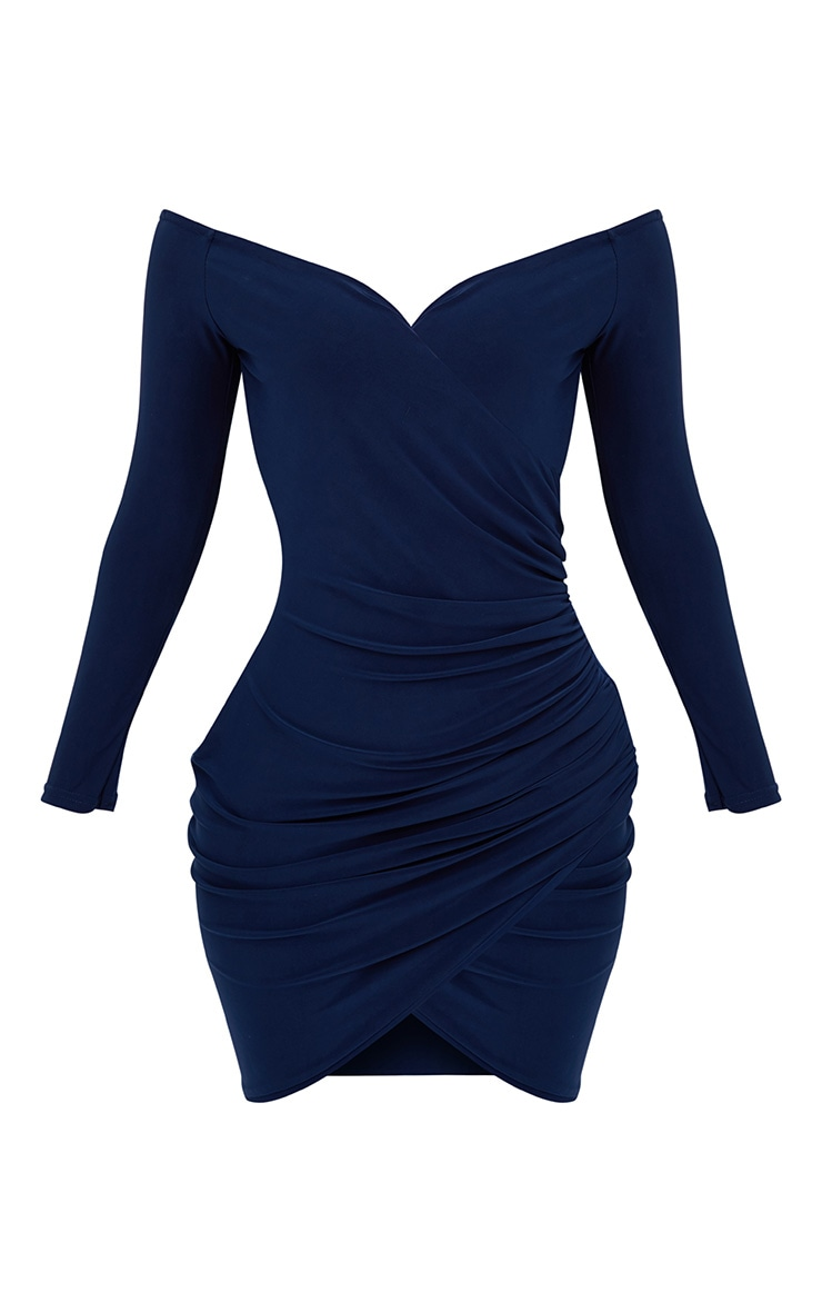 Shape Navy Ruched Bardot Bodycon Dress 3