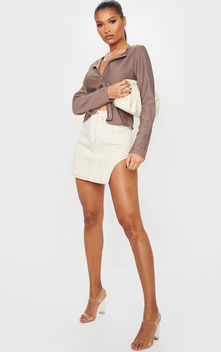 Ecru Contrast Stitch Cut Out Hem Denim Skirt 1