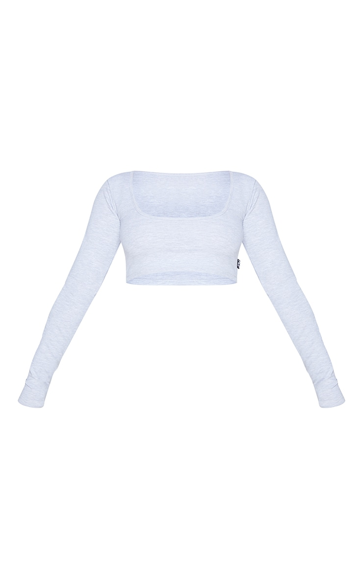 PRETTYLITTLETHING Grey Marl Badge Cotton Long Sleeve Crop Top 5