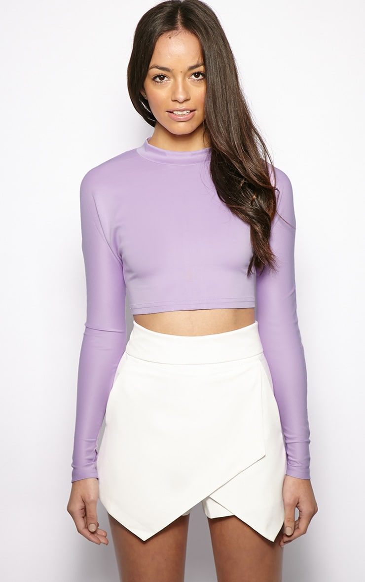 Megan Lilac Turtle Neck Crop Top  1