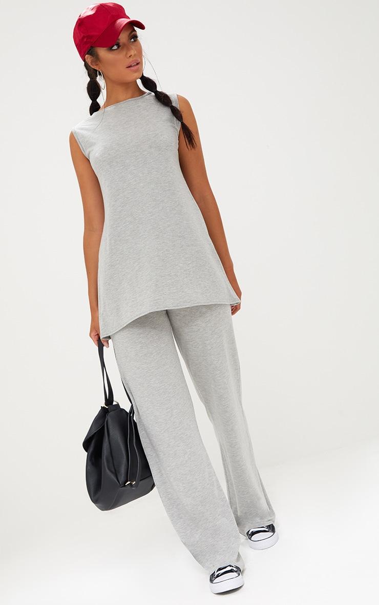 Grey Marl Soft Longline Vest & Wideleg Set 4