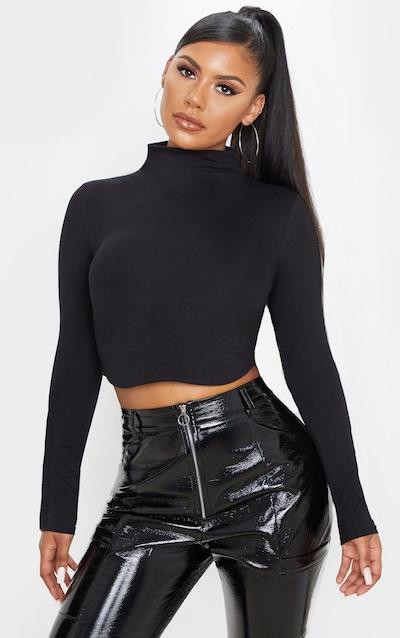 Black Cotton Funnel Neck Long Sleeve Top