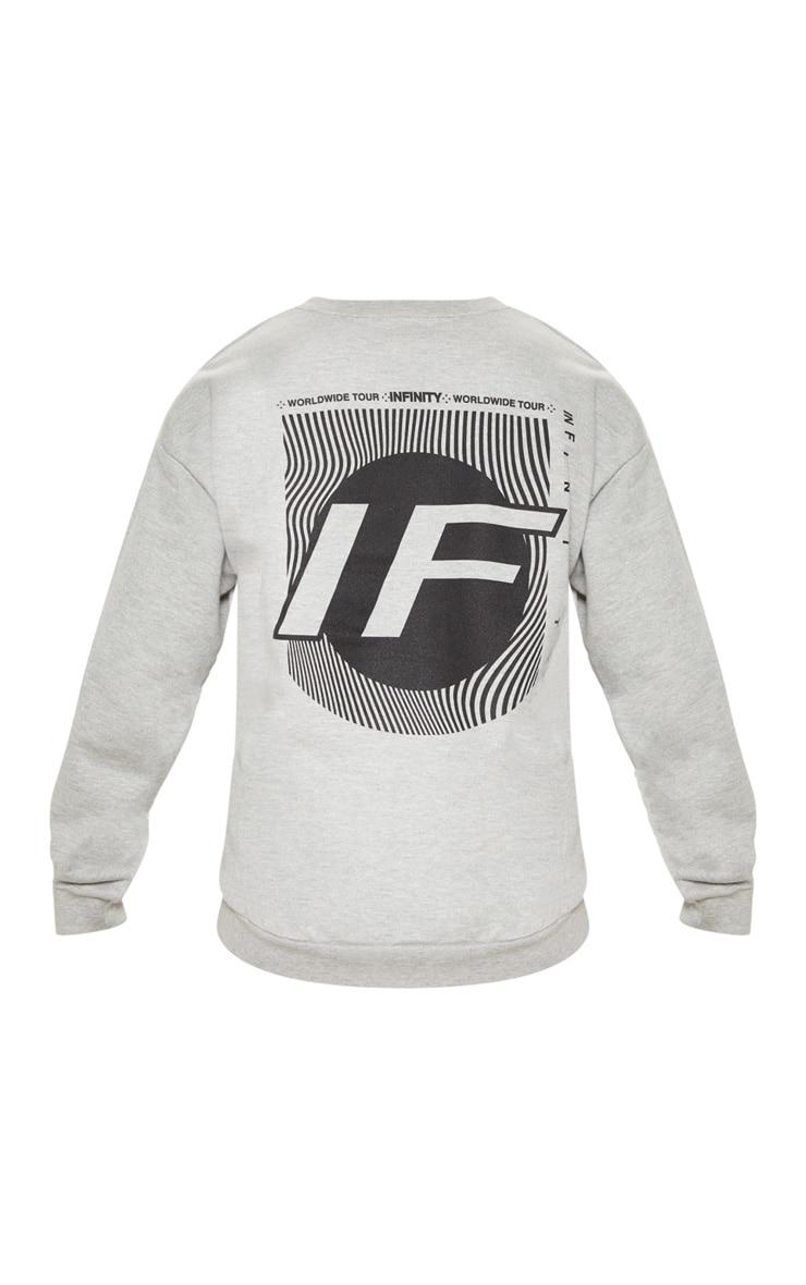 Grey Infinity Slogan Back Print Oversized Sweater 4