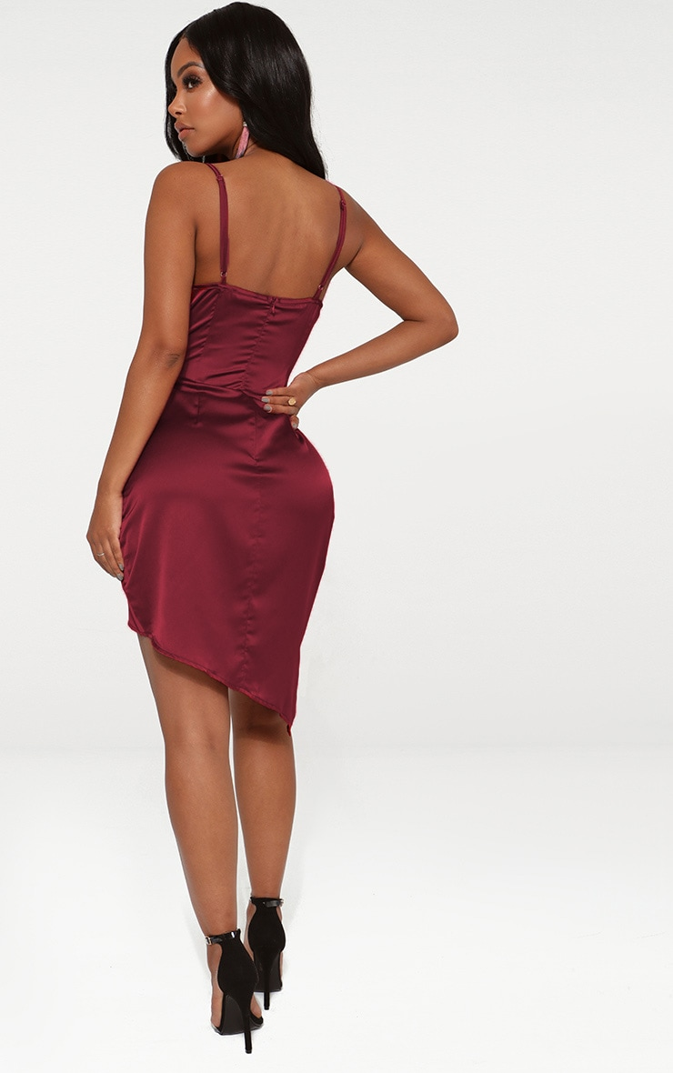 Shape Burgundy Satin Wrap Dress 2