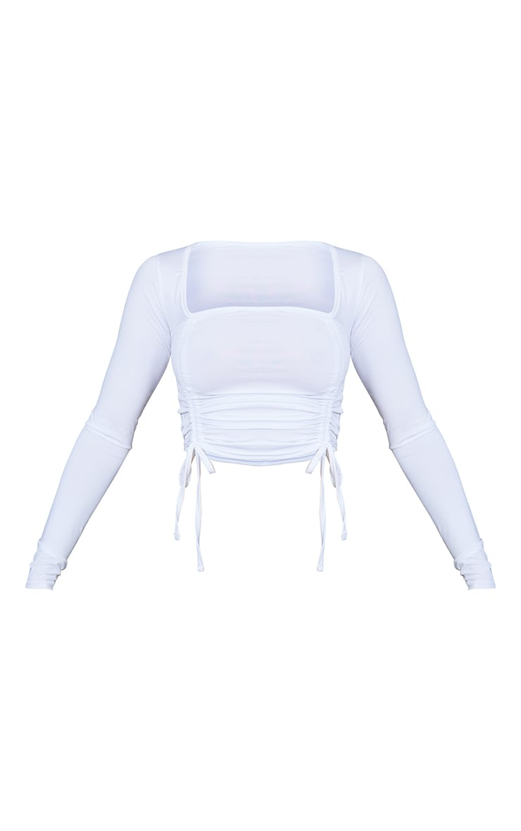 White Slinky Ruched Detail Long Sleeve Crop Top 5