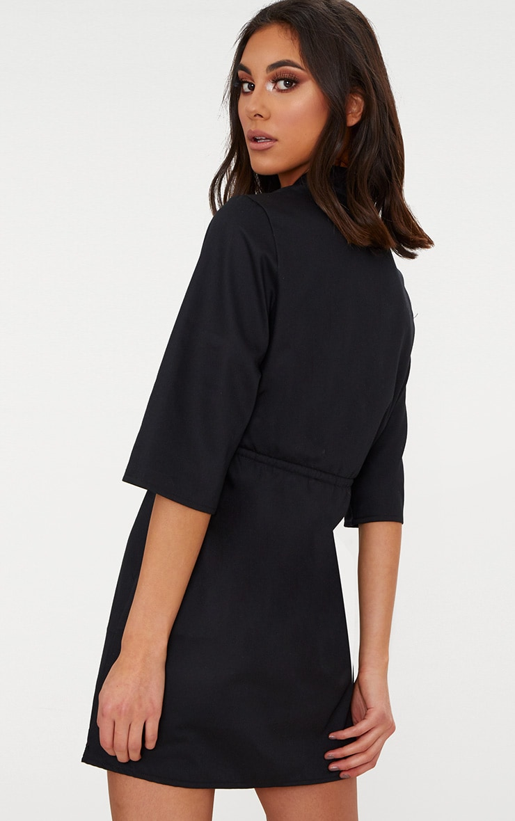 Black Utility Shirt Dress  2