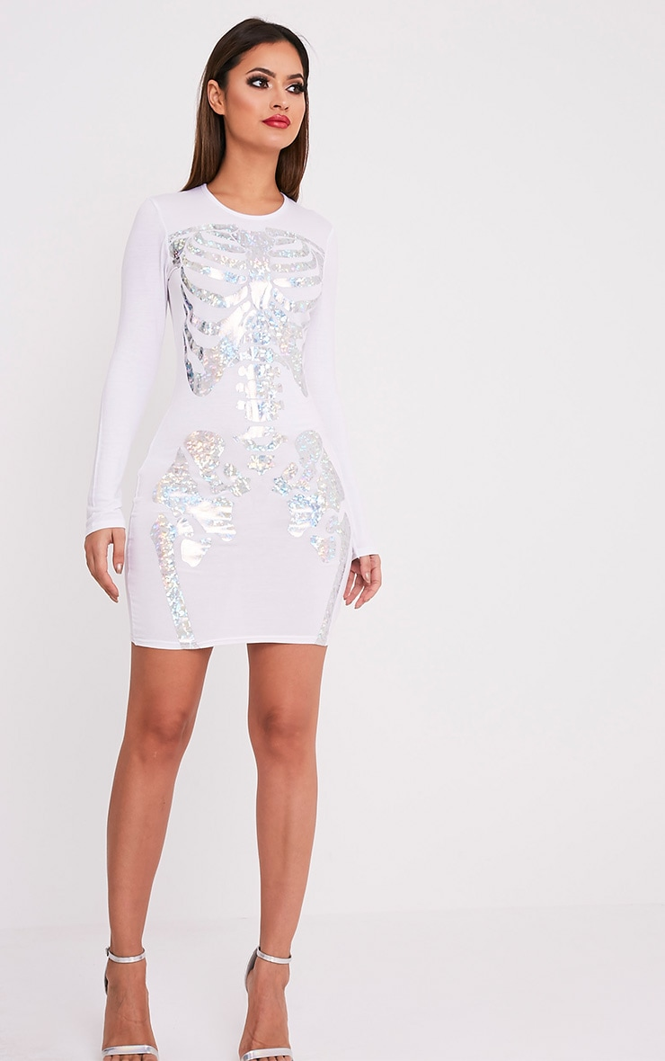 Holographic Skeleton Print White Bodycon Dress 4