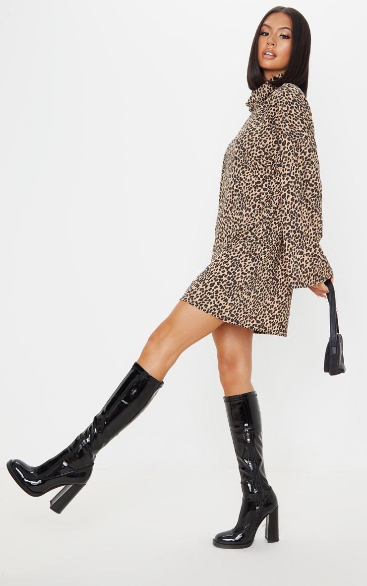 Beige Leopard Print Rib Roll Neck Flare Sleeve Sweater Dress 1