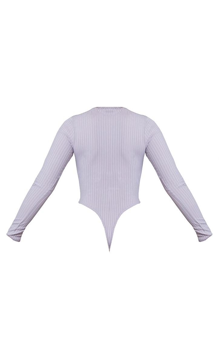 Grey Wide Rib V Cut Out Long Sleeve Bodysuit 6