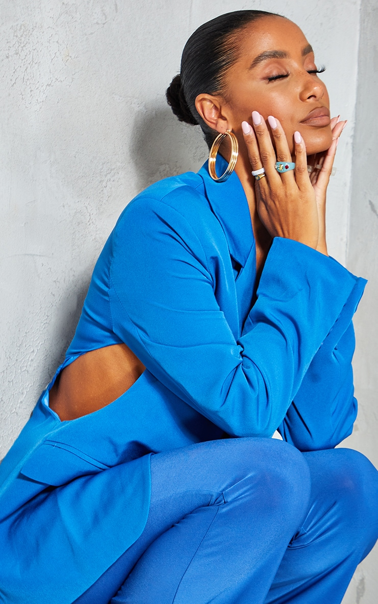 Blue Woven Cut Out Oversized Blazer 4