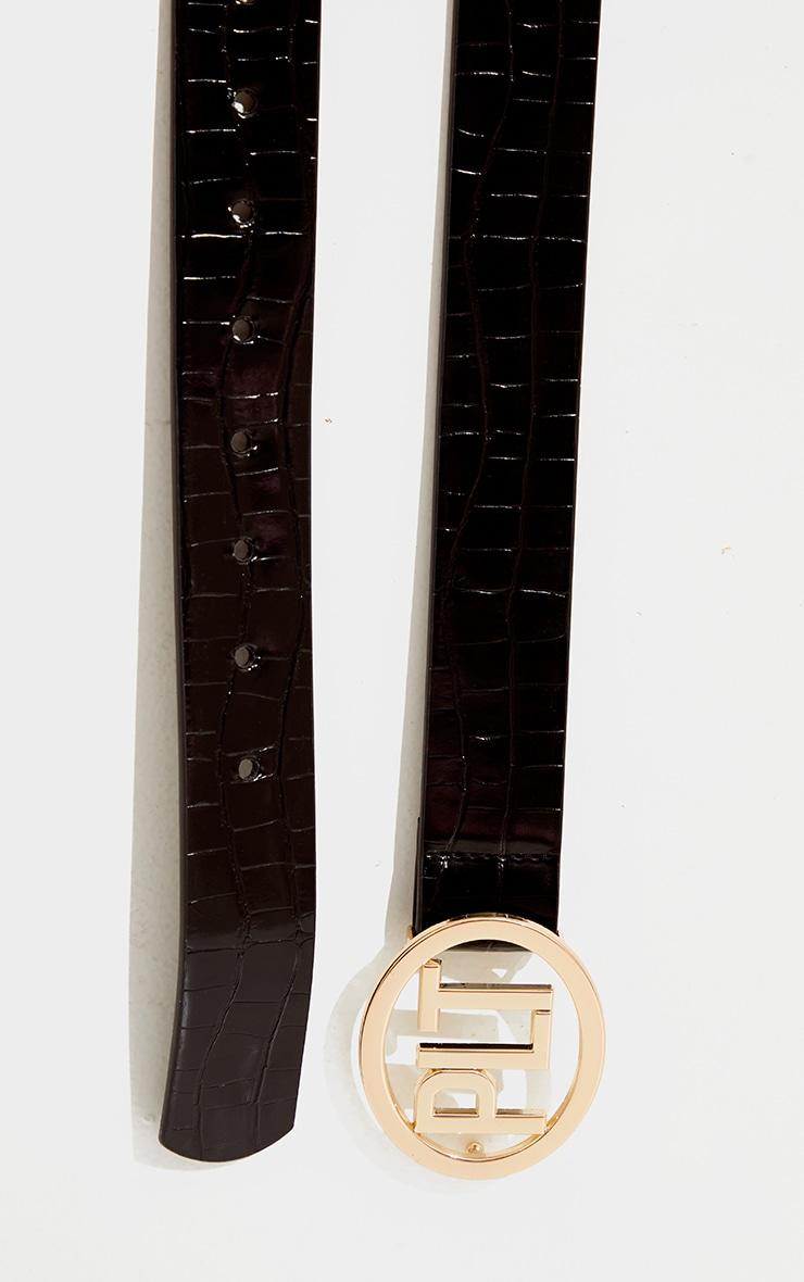 PRETTYLITTLETHING Black Pu Gold Buckle Waist Belt 1