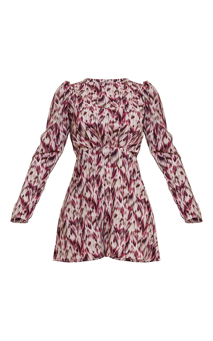 Purple Printed Puff Sleeve Cut Out Rompe 5