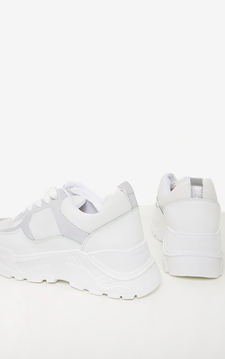 White Reflective Panel Chunky Trainer