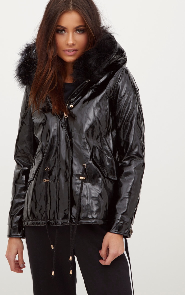Black Vinyl Faux Fur Trimmed Hooded Coat 4