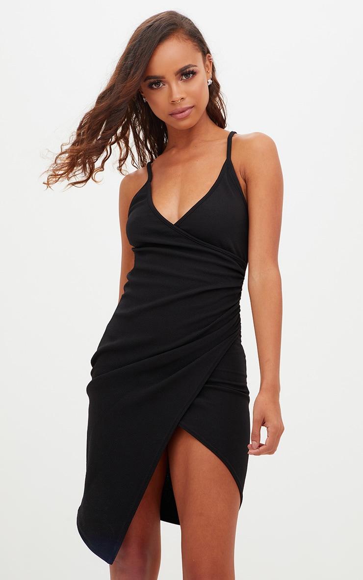 Petite Black Wrap Bodycon Dress 1