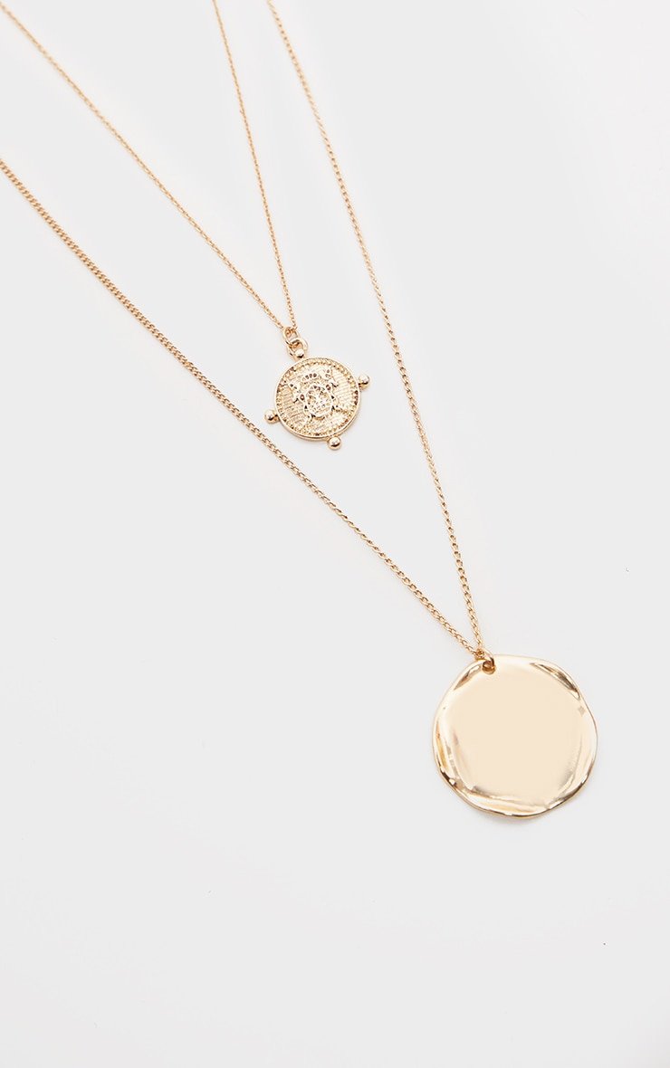Gold Hammered Disc And Coin Double Layer Necklace 4