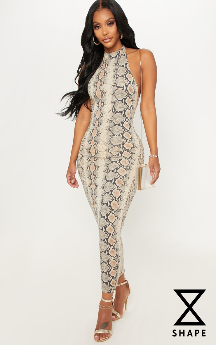 Shape Taupe Snake Print Halterneck Midaxi Dress 1