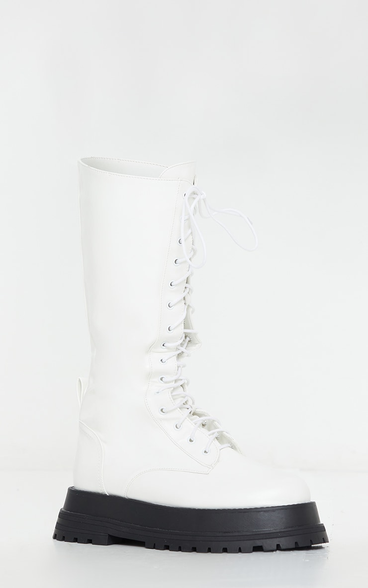 White Lace Up Calf Chunky Boots | Shoes