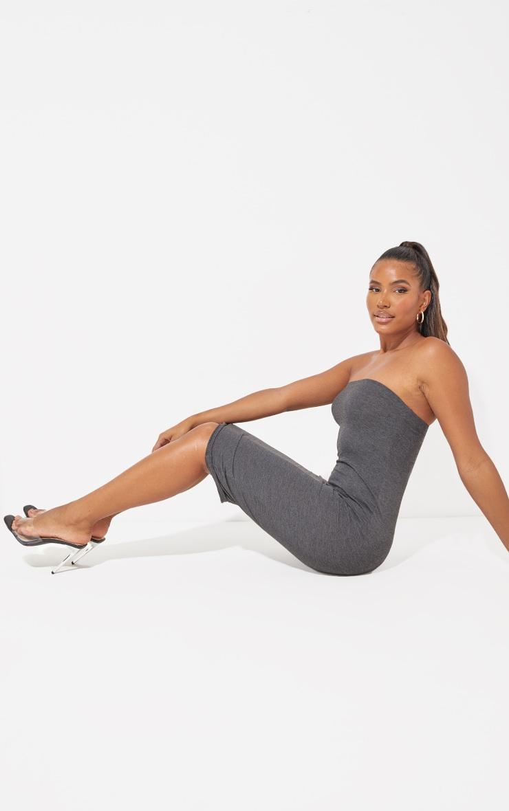 Charcoal Grey Basic Bandeau Midaxi Dress 4