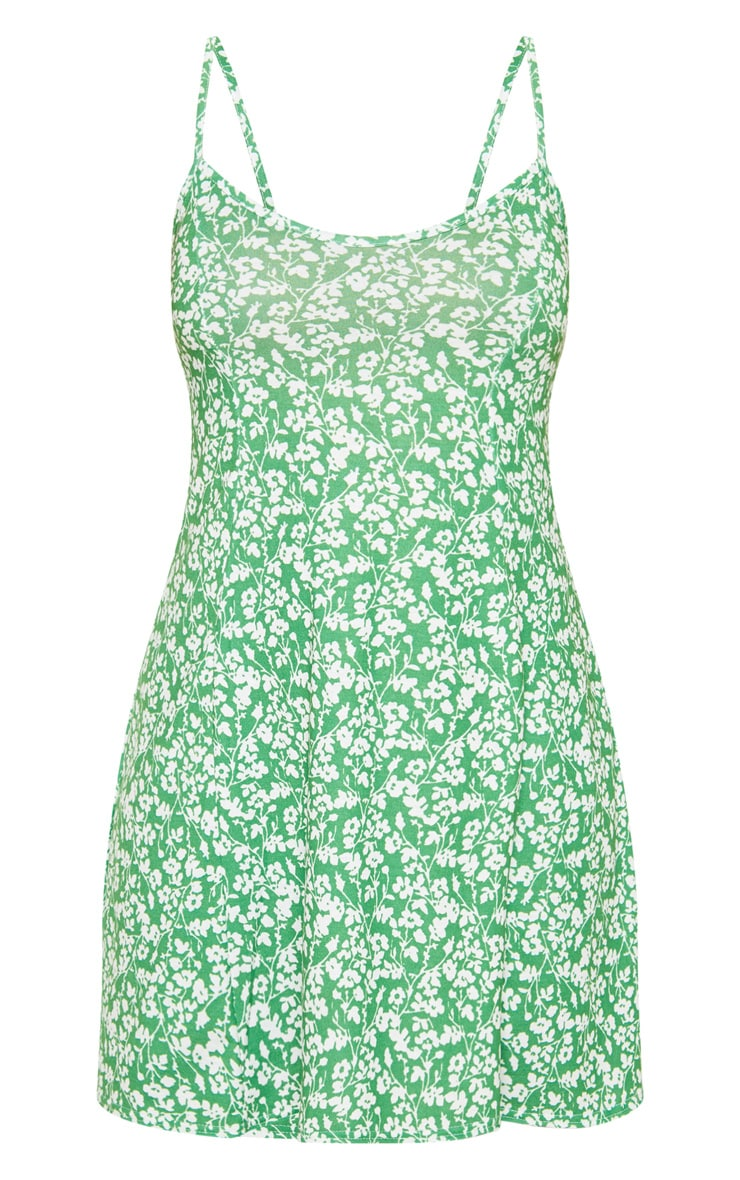 Green Ditsy Floral Strappy Shift Dress 3