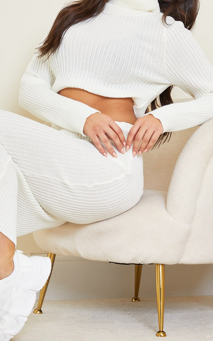 Tall White Knitted Midi Skirt 4