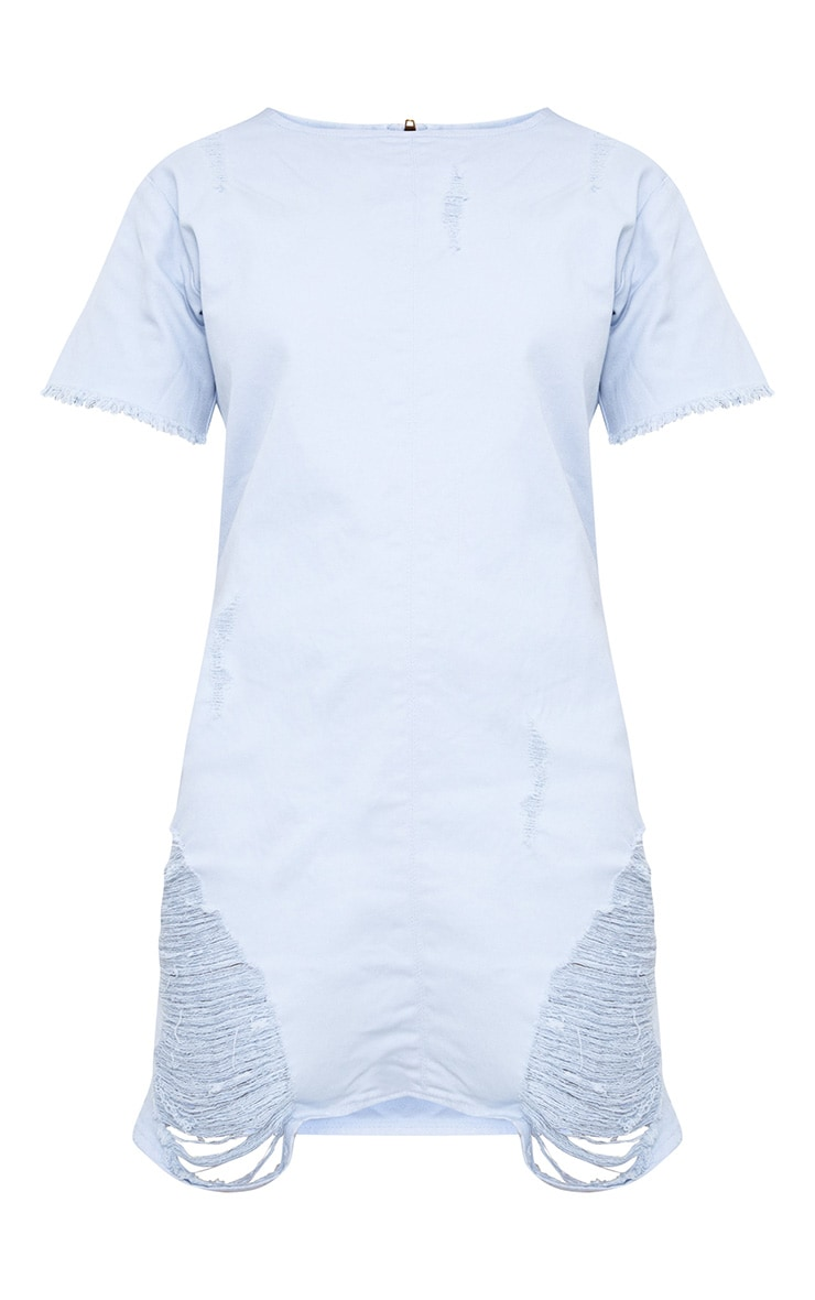 Light Wash Super Shred Denim Mini Dress 3
