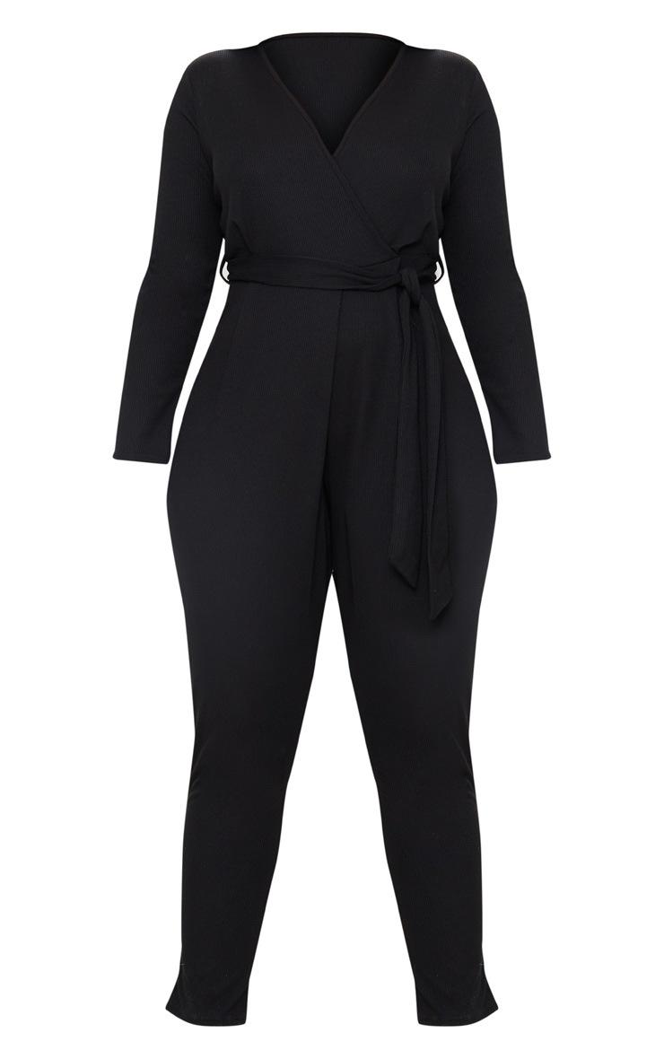 Plus Black Ribbed Wrap Front Jumpsuit 3