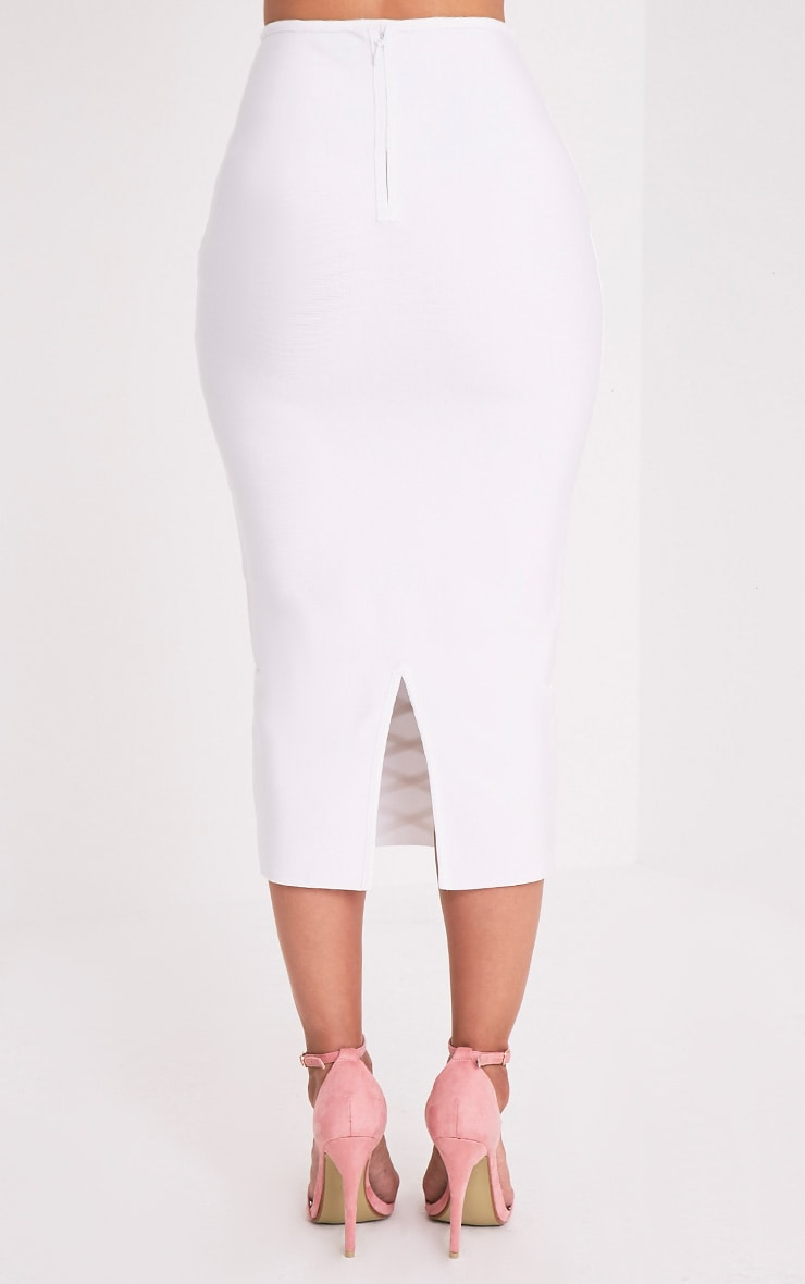Kailyn White Bandage Lattice Detail Midi Skirt 4